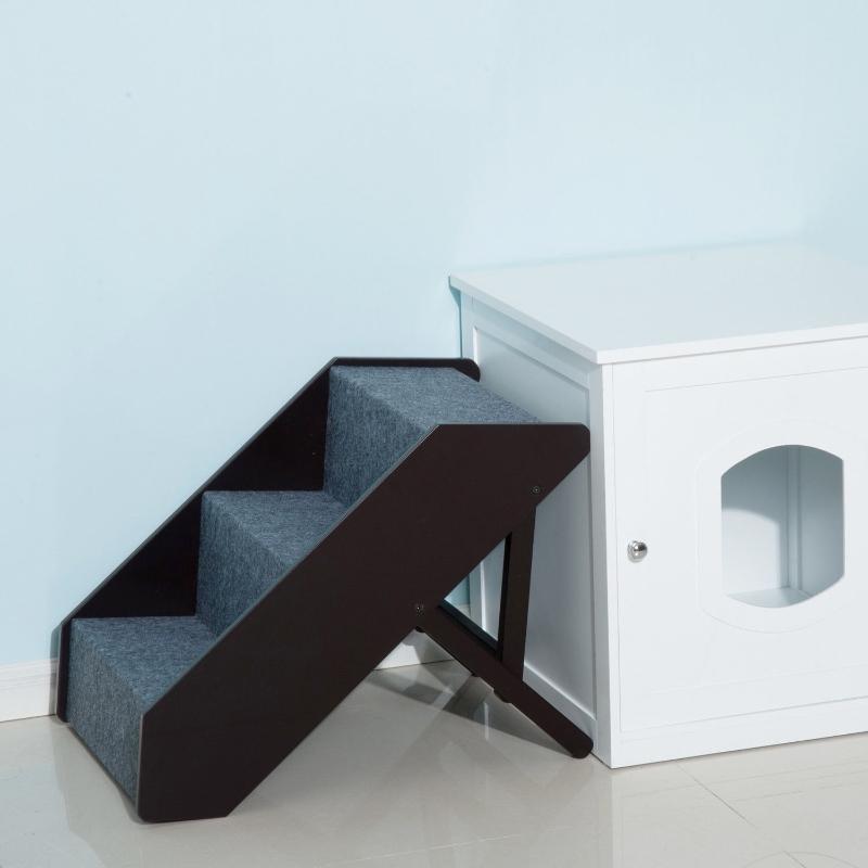 Kattentrap hondentrap met 3 treden huisdierentrap in hoogte verstelbaar inklapbaar