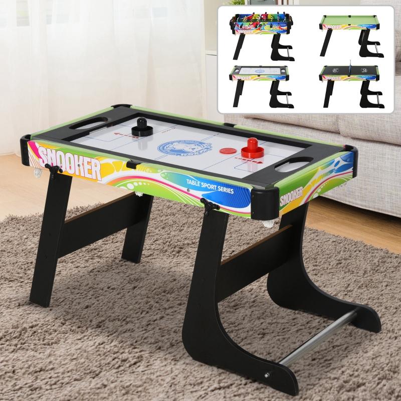 Tafelspel 4-in-1 tafelvoetbaltafel voor voetbal, hockey, tafeltennis, biljart, multigame