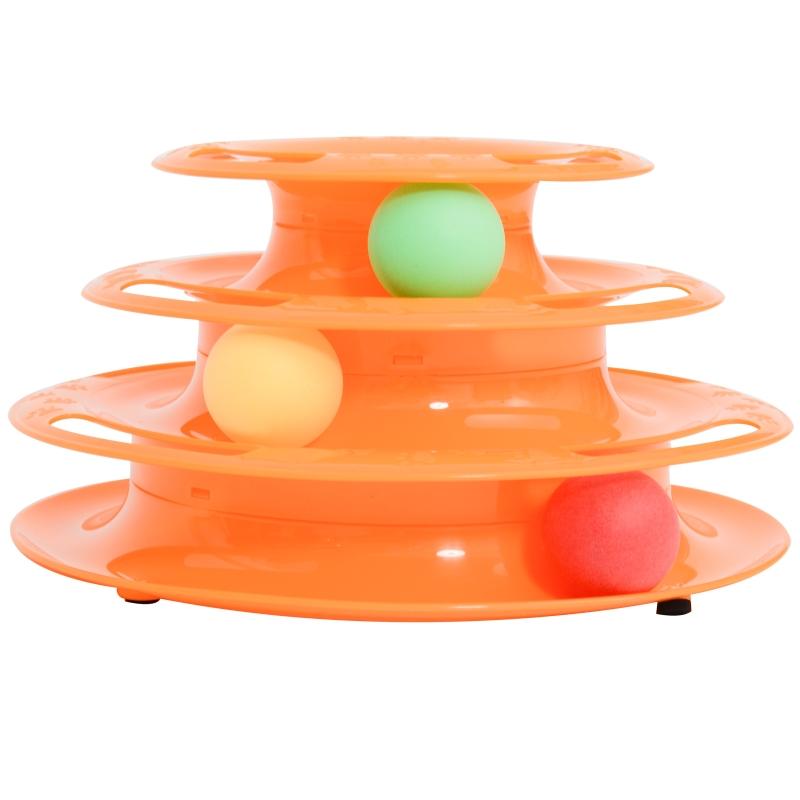 kattenspeeloren rotonde met ballen speelgoed ballenbaan 3 niveaus 2 kleuren
