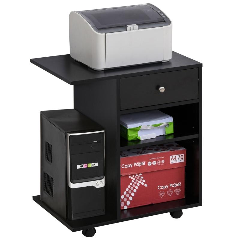 Printertafel trolley printerstandaard met laden + planken + CPU-standaard zwart