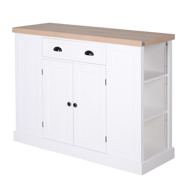 HOMCOM keukenkast, keukenplank, onderkast met schuiflade, anti-kantel, MDF, wit