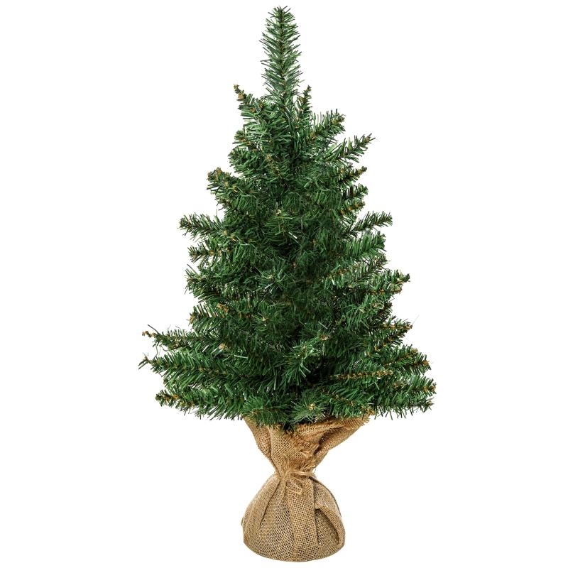 kerstboom voor op tafel 0,6 m kleine kerstboom 70 takken linnen PVC cement