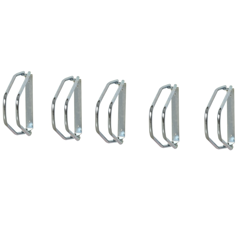 Fietsenstaling, vloer- en wandmontage, staal zilver 5 fietsen