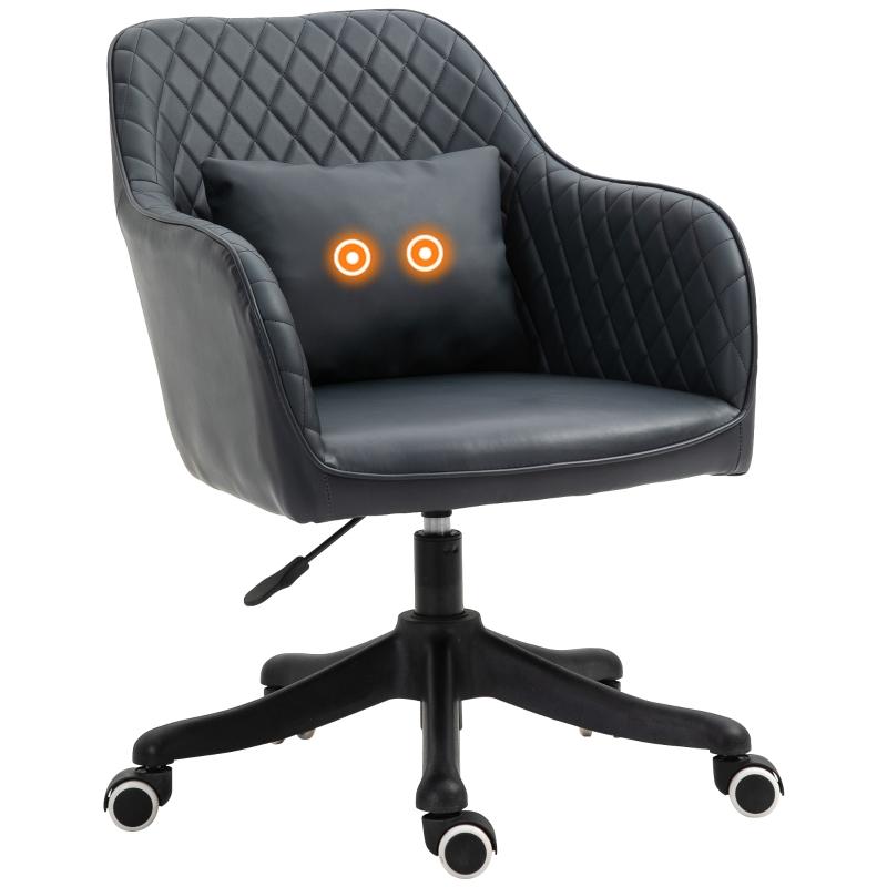 Massage kantoorstoel draaistoel werkstoel met trilfunctie PU donkergrijs