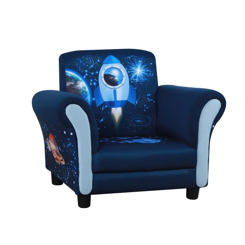 HOMCOM kinderbank mini sofa stoel met houten structuur antislip voeten blauw