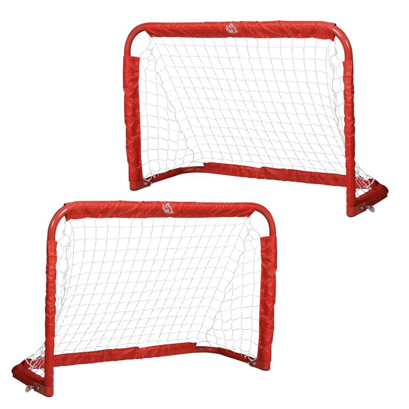 Voetbaldoelen Voetbalnet set van 2 mini doelen opvouwbaar staal rood 90 x 36 x 60 cm
