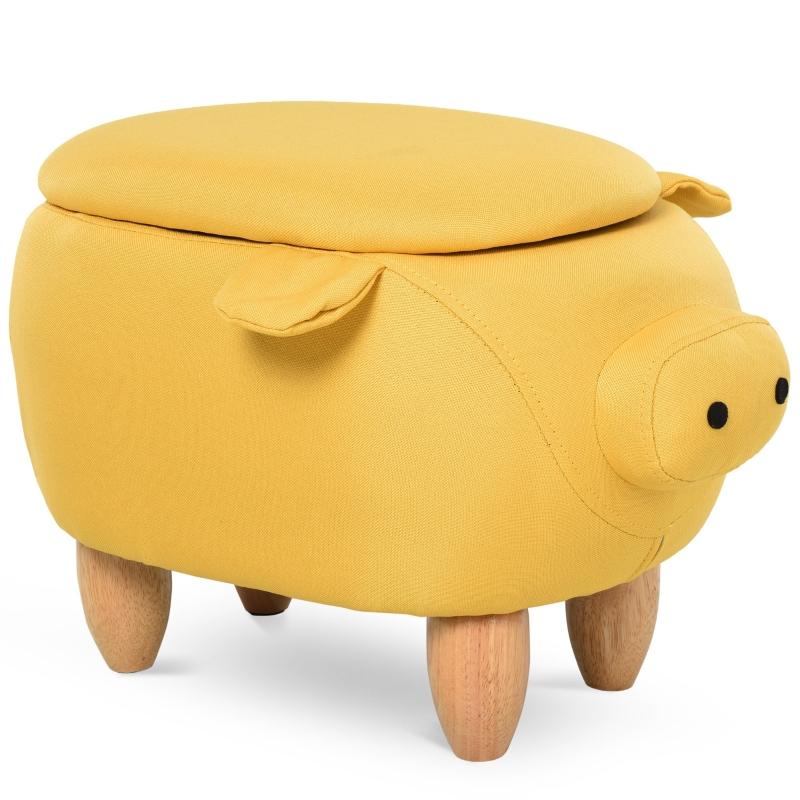 Dierenkruk decoratieve kruk poef met opbergruimte krukje varken geel