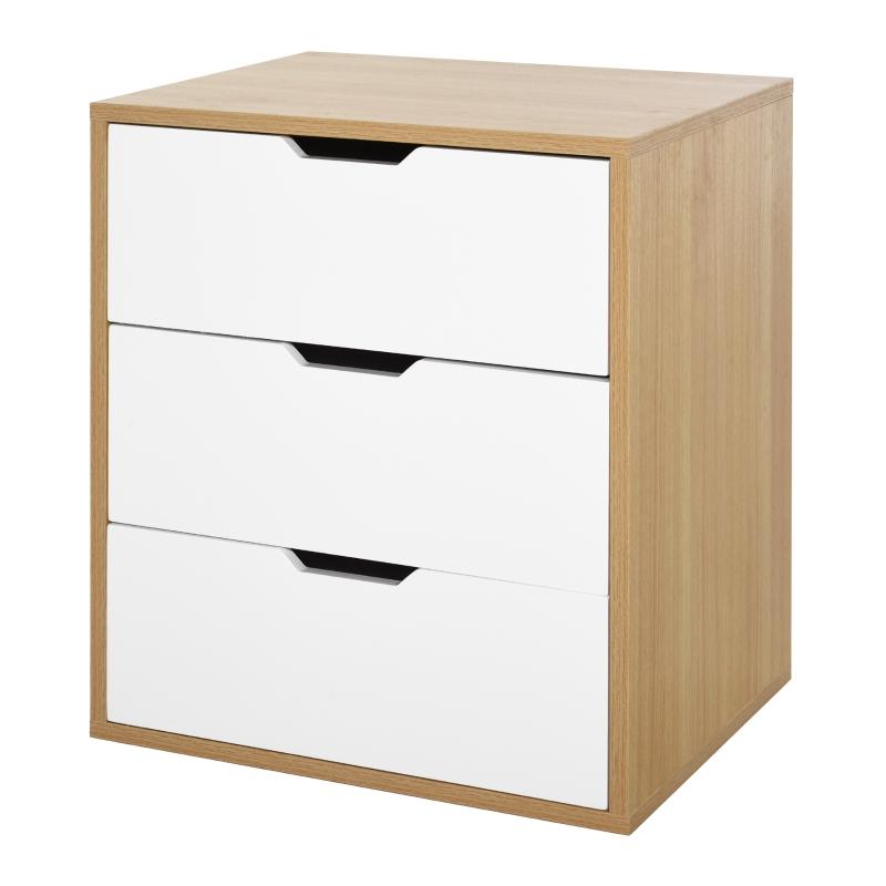 Kantoorcontainer met 3 schuiflades archiefkast kantoorkast E1 spaanplaat wit + naturel