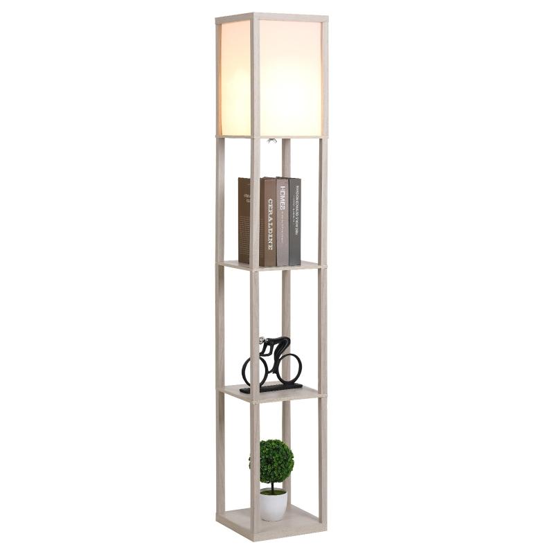 Staande lamp verlichting met 3 planken E27 tot 40 W E1-kwaliteit MDF eiken + wit