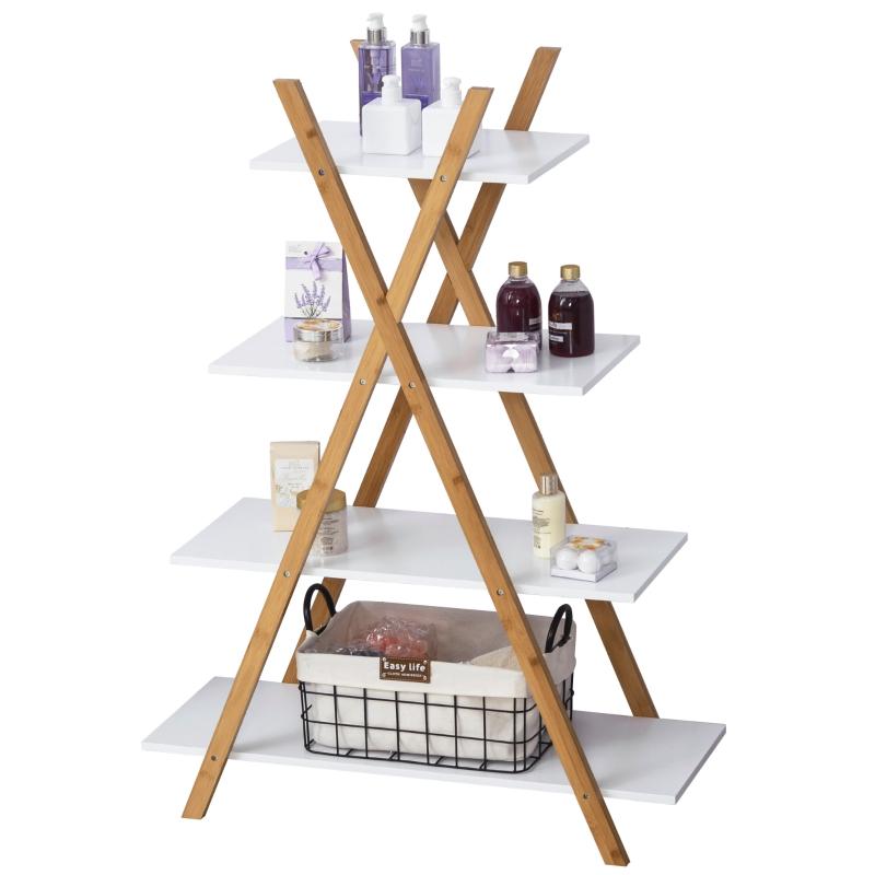badkamerplank 4 niveaus trapplank ladderplank badkamer bamboe naturel + wit