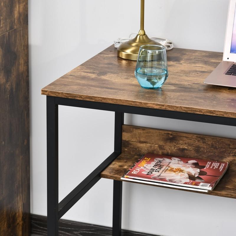 Bureau computertafel met rek spaanplaat metaal bruin