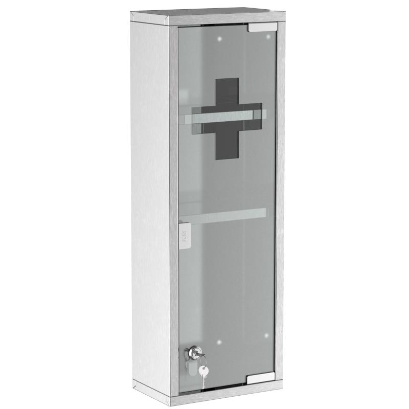 Medicijnkast EHBO-kast met slot glazen deur 3 vakken matglas 430 rvs
