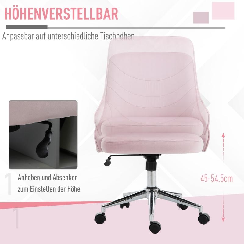 Vinsetto® Bürostuhl Drehstuhl Arbeitstuhl mit Wippenfunktion höhenverstellbar Samt Rosa
