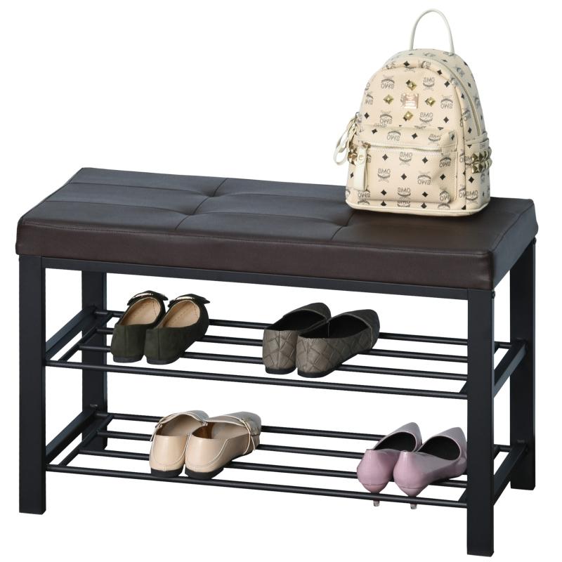 Schoenenbank schoenenrek 2 schoenenrekken bank metaal bruin 6 tot 8 paar schoenen
