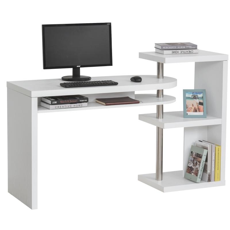Hoekbureau computertafel PC-bureau met plank bureau L/I-vorm wit