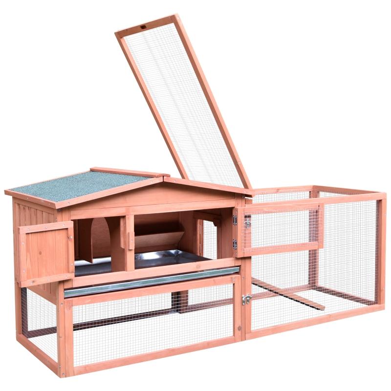Konijnenhok konijnenhok met twee verdiepingen buitenverblijf massief hout oranje
