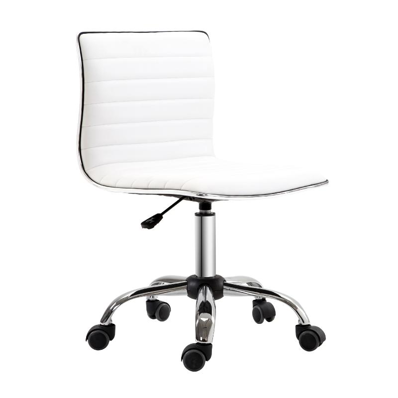 Kappersstoel salonstoel draaistoel rugleuning in hoogte verstelbaar staal PU wit