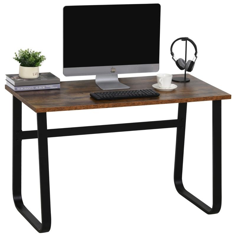 Bureau computertafel bureau kantoortafel PC tafel industrieel design staal bruin