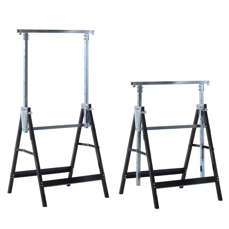 2 x in hoogte verstelbare steigerbok opklapbare bok tot 200 kg staal zwart