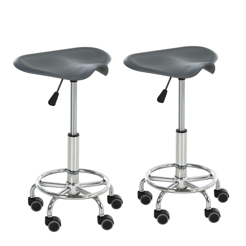 Zadelkruk voor kantoor salon massage verstelbare draaikruk rolkruk grijs