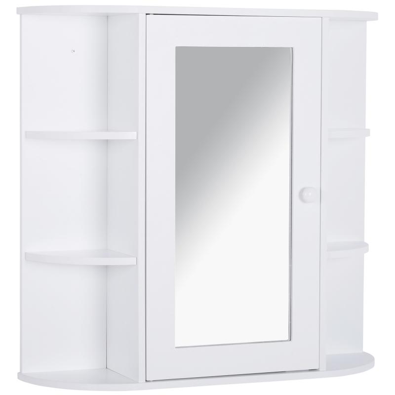 Spiegelkast wandmontage badkamerrek badkamerkast 8 vakken MDF wit