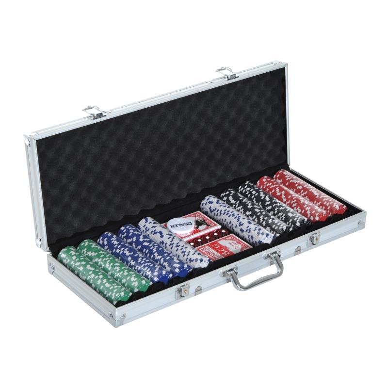 Pokerkoffer pokerset 500 pokerchips 5 kleuren 2x kaartspel 5x dobbelstenen 1x aluminium koffer