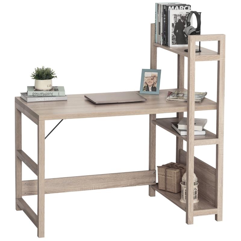 Bureau met 4 niveaus boekenkast computertafel kantoortafel spaanplaat eiken