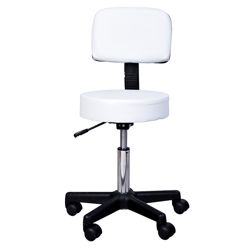 Werkkruk in hoogte verstelbaar rolkruk draaibare kruk met leuning rollen kantoor wit