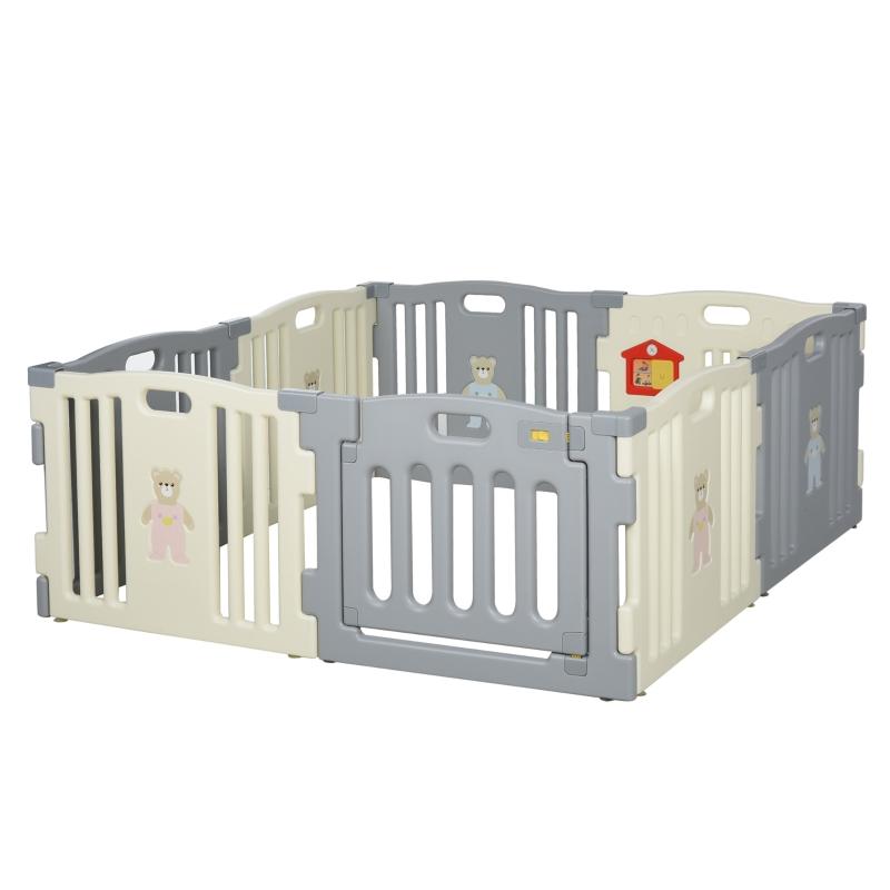 babybox 8 elementen beschermhek met deur en spel PE ABS wit + grijs