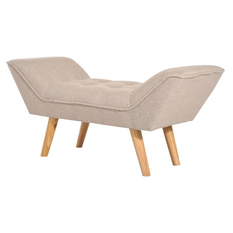zitbank retro gepolsterde bank kruk kist bank chaise longue linnen beige