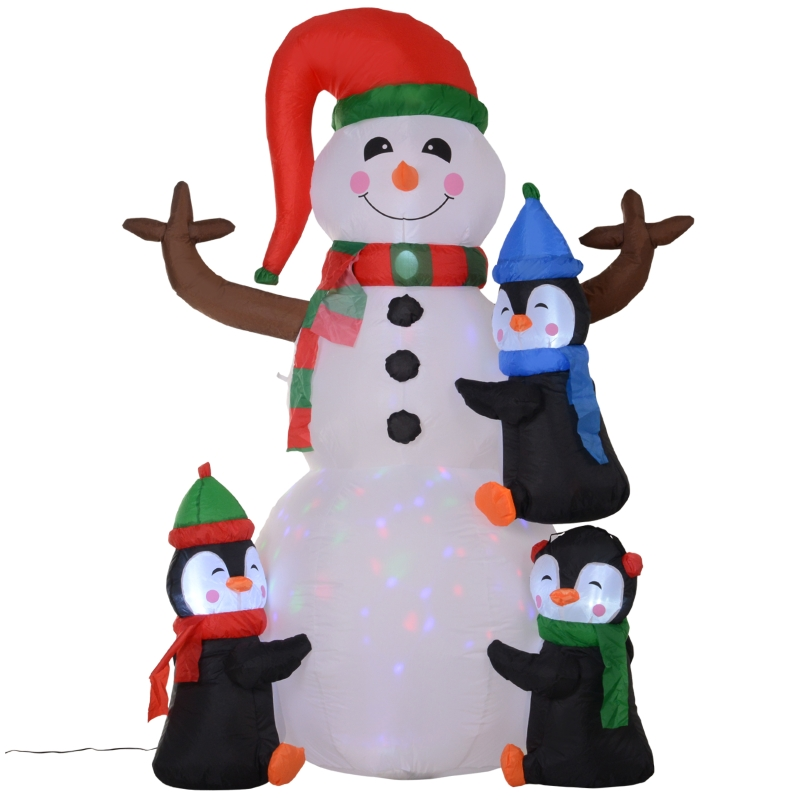 Kerst opblaasbare sneeuwpop met 3 pinguïns 1,8 m decor leds polyester