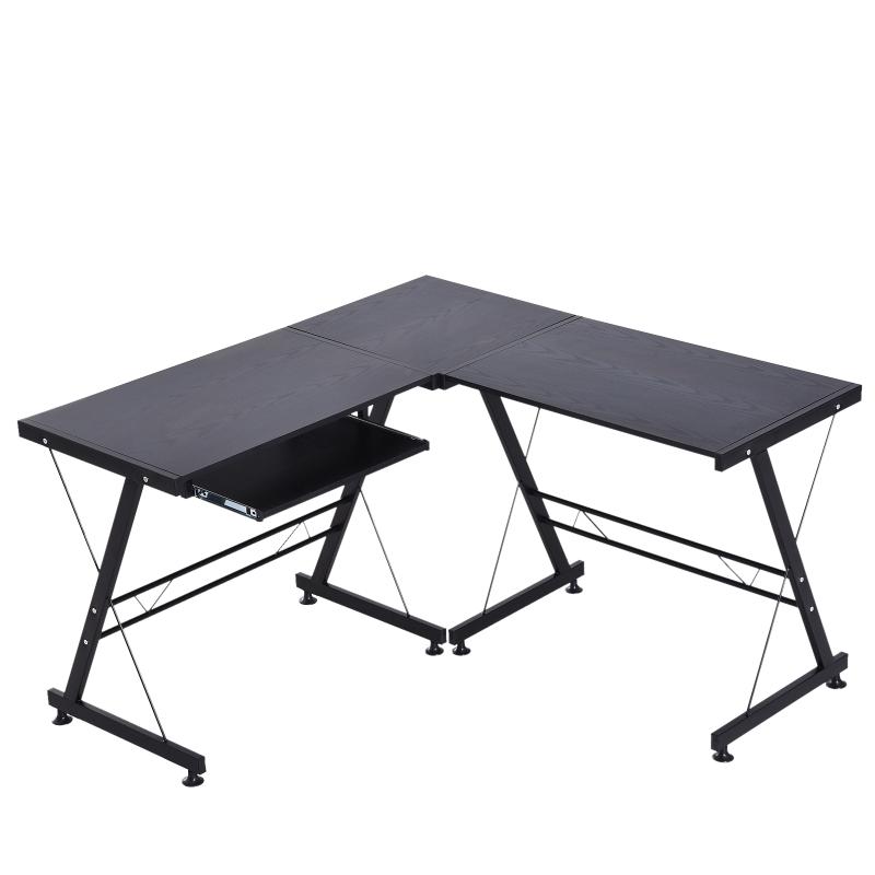 Computertafel bureau werkstation flexibel MDF staal zwart/wit
