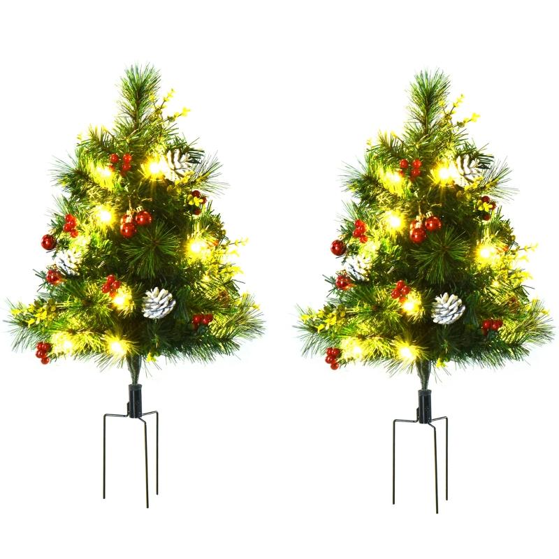 set van 2 kerstbomen mini kunstkerstboom met rode bessen LED IP44