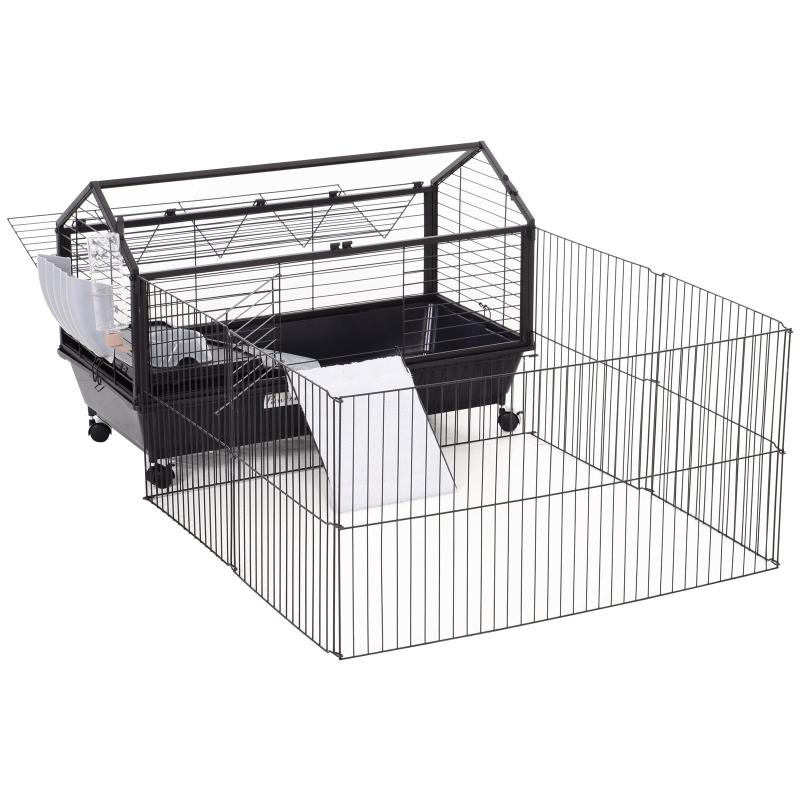 knaagdierkooi konijnenhok caviakooi klein huisdier met tuin verhoging 88x128,5x56cm