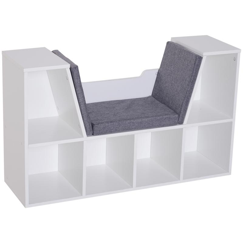 Boekenmeubel Boekenkast met zitkussens staande kast kast met bank hout wit
