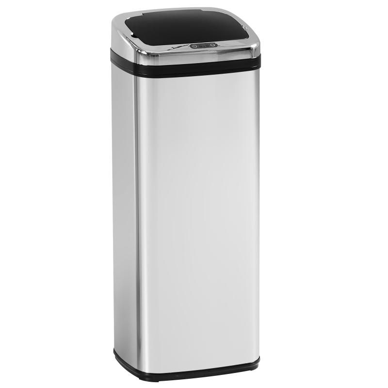 rvs automatische sensor vuilnisemmer afvalemmer IR-sensor vierkant 50 l