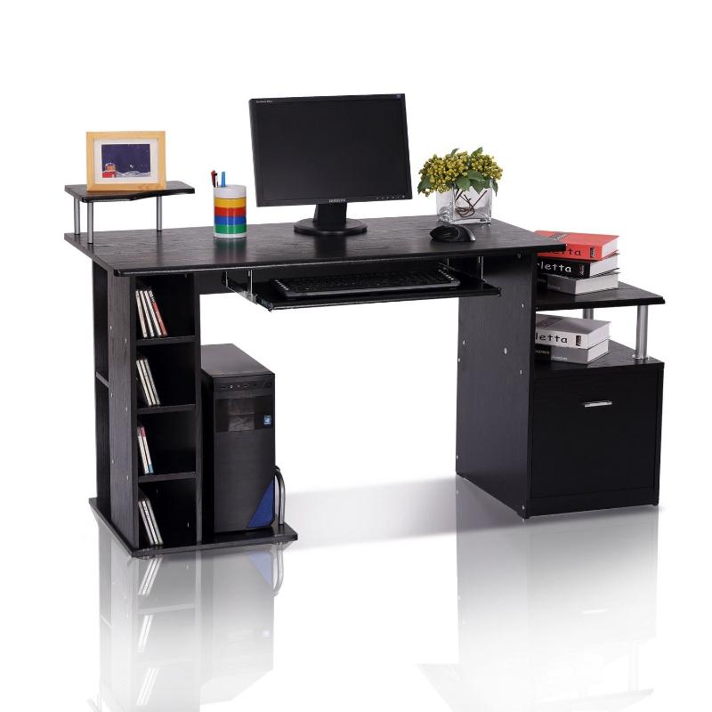 Computertafel bureau kantoortafel PC-tafel werktafel hout zwart