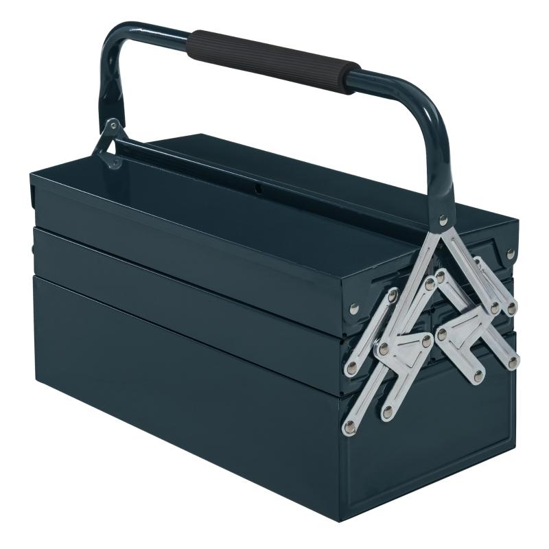 Gereedschapskist gereedschapskoffer 5 bakken staal donkergroen 45 x 22,5 x 34,5 cm