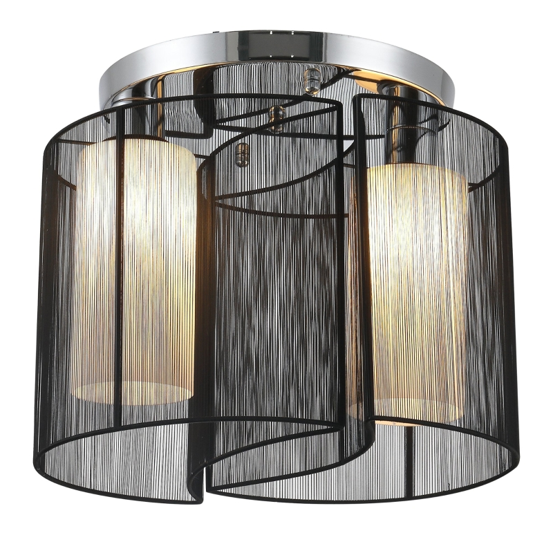 Plafondlamp vintage 2 x E27 fitting plafondlamp plafondlicht lamp 40 W zwart