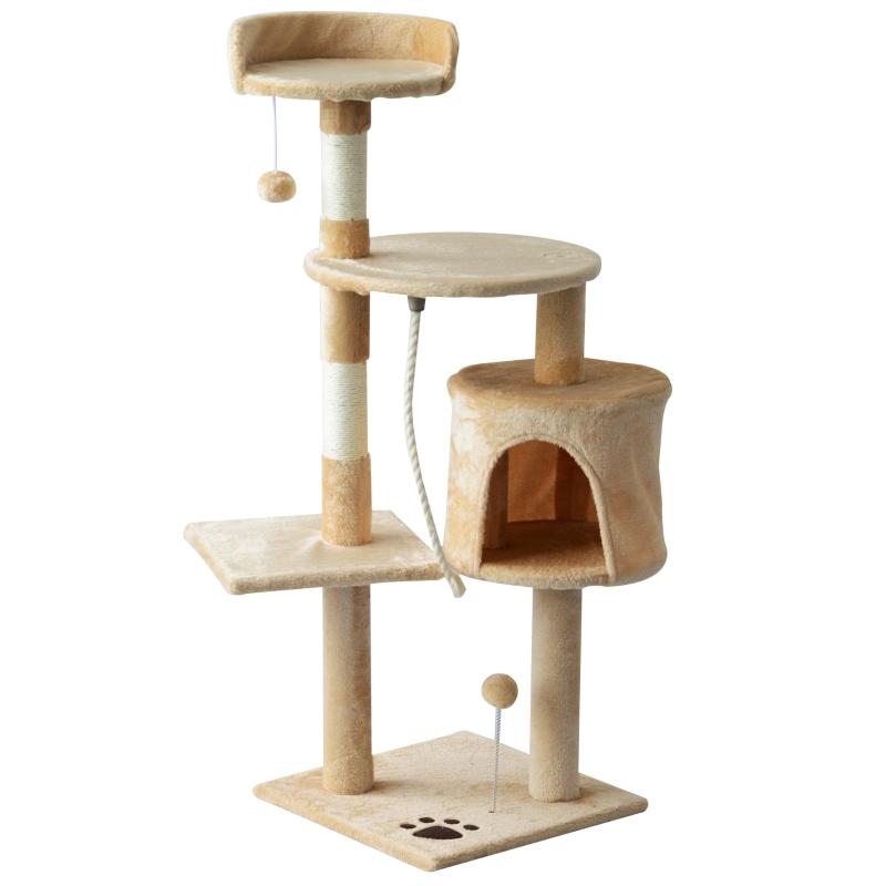 Kattenboom krabboom slaapgrot klimboom trap speelboom 4 lagen 114 cm