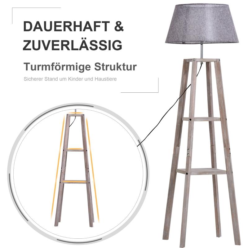 Staande lamp met schappen schemerlamp Scandinavische lamp grenen naturel grijs
