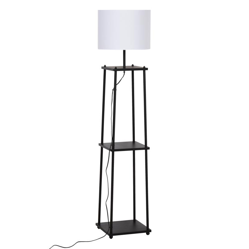 Staande lamp met 3 planken stalamp polyester katoen metaal zwart