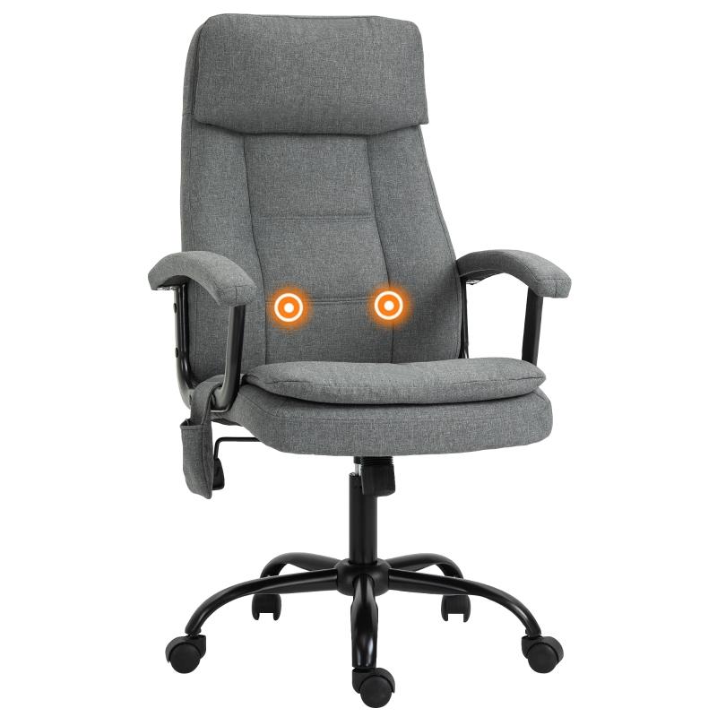 Massage kantoorstoel, draaistoel, gamestoel, in hoogte verstelbaar, linnengevoel grijs