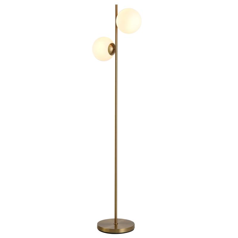 Staande lamp schemerlamp vloerlamp 2 glazen kappen goud + wit