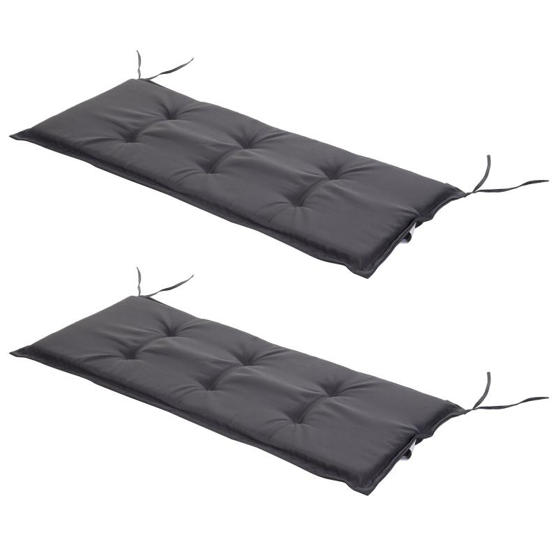 Bankhoes set van 2 bankkussens zitkussens voor tuinbank bekleding polyester grijs