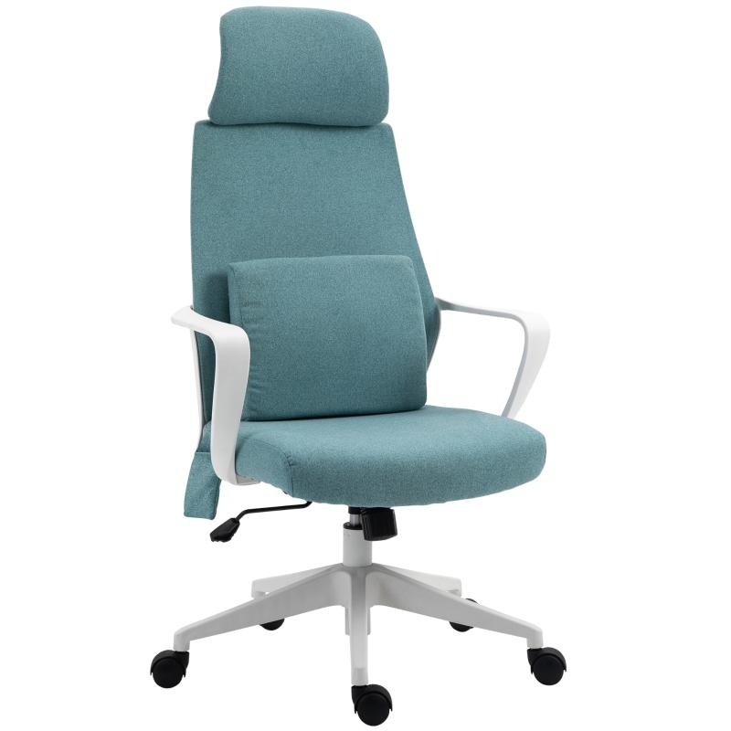 Massagestoel kantoorstoel directiestoel met massagefunctie in hoogte verstelbaar blauw