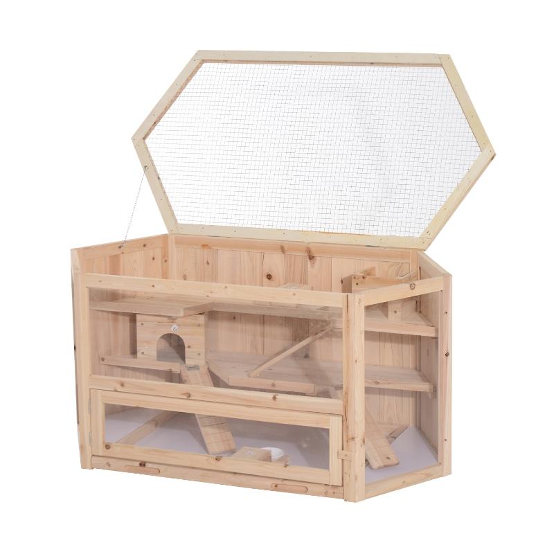 Kooi voor kleine dieren hamsterkooi kooi knaagdierkooi muizenkooi 3 verdiepingen dennenhout