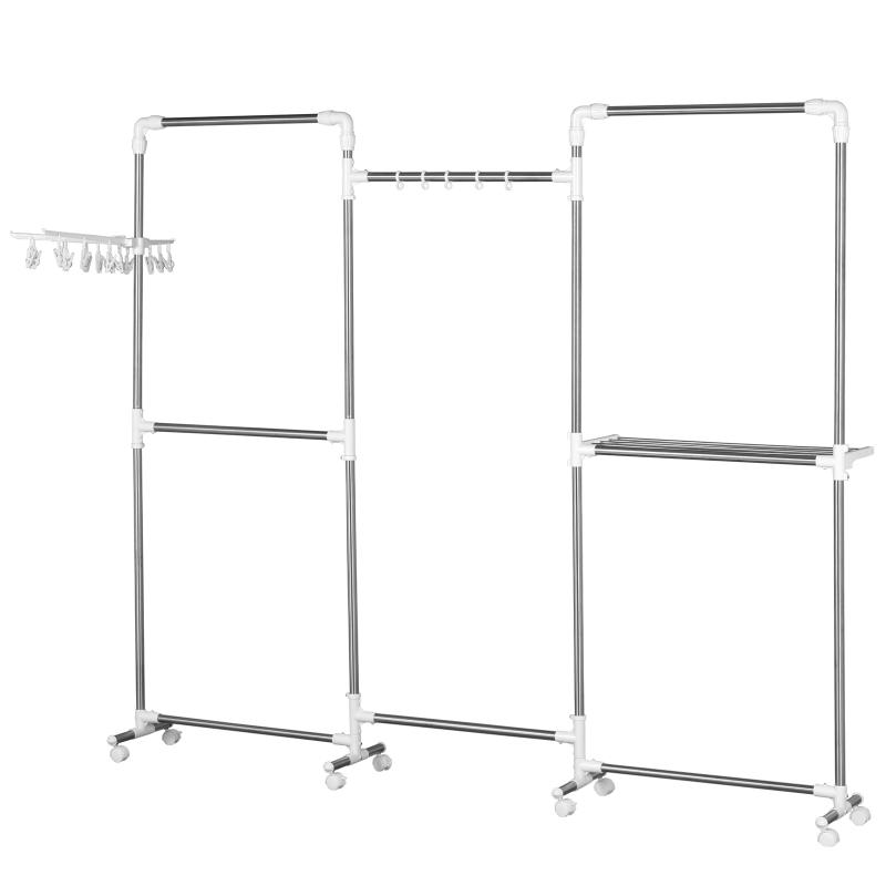 Kledingrek kledingstang garderobestandaard staal wit zilver 215x32x180 cm
