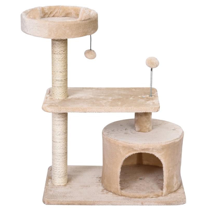 kattenboom 3 verdiepingen krabpaal kattengrot met sisal palen krabplank pluche beige