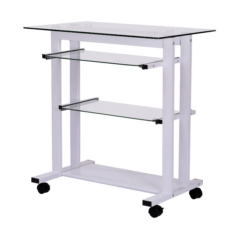 Rolbaar bureau computertafel bureau werktafel met glazen aflegvlak wit